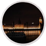 Big Ben And The Houses Of Parliment On The Thames Round Beach Towel