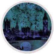 Big Ben On The River Thames Round Beach Towel