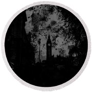 Big Ben Street Black And White Round Beach Towel