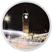 Big Ben With Light Trails Round Beach Towel