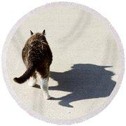 Big Cat Ferocious Shadow Round Beach Towel by James BO  Insogna