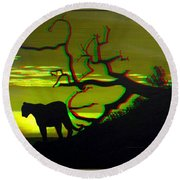 Big Cat Silhouette -  Use Red-cyan 3d Glasses Round Beach Towel