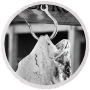 Big Cod Fish Hanging On The Hook Scale Round Beach Towel