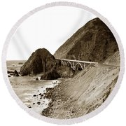 Big Creek Bridge Double Arched Concrete Bridge On Highway 1. About 40 Miles South Of Monterey  1935 Round Beach Towel