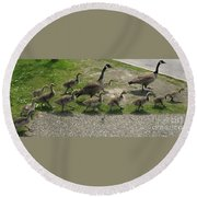 Big Family Crossing The Road Round Beach Towel
