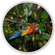 Big Glider Macaw Digital Art Round Beach Towel