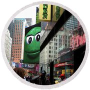 Big Green M And M Round Beach Towel
