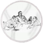 Big Guys And A Little Guy Round Beach Towel