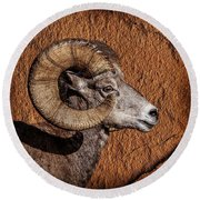 Big Horn Round Beach Towel