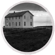 Big House In A Storm Round Beach Towel