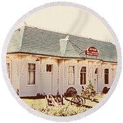 Big L Railroad Station Round Beach Towel