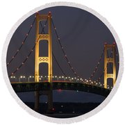 Big Mackinac Bridge 55 Round Beach Towel