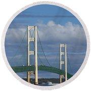 Big Mackinac Bridge 61 Round Beach Towel