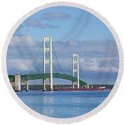 Big Mackinac Bridge 65 Round Beach Towel