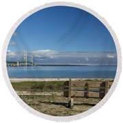 Big Mackinac Bridge 70 Round Beach Towel