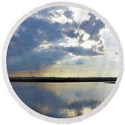 Big Marsh Sunset Round Beach Towel