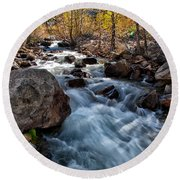 Big Pine Creek Round Beach Towel by Cat Connor