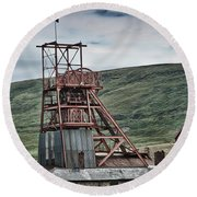 Big Pit Colliery Round Beach Towel
