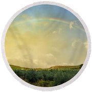 Big Rainbow Round Beach Towel