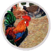 Big Red And The Girls Round Beach Towel