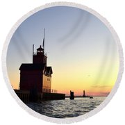 Big Red At Sunset Round Beach Towel by Michelle Calkins