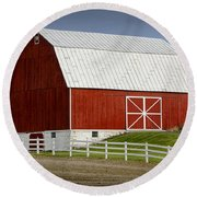 Big Red Barn In West Michigan Round Beach Towel