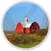 Big Red Barn Round Beach Towel