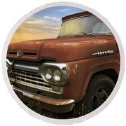 Big Red Ford Round Beach Towel