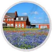 Big Red House On Bluebonnet Hill Round Beach Towel