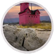 Big Red Lighthouse By Holland Michigan Round Beach Towel