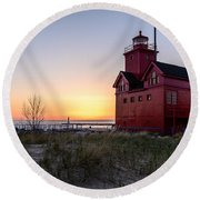 Big Red Lighthouse Round Beach Towel