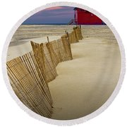 Big Red Lighthouse With Sand Fence At Ottawa Beach Round Beach Towel