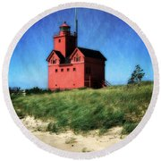 Big Red With Flag Round Beach Towel