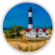 Big Sable Light On The Shore Round Beach Towel