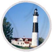 Big Sable Lighthouse Round Beach Towel