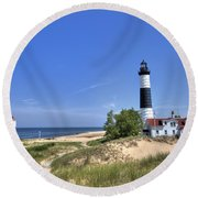 Big Sable Point Light Round Beach Towel