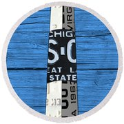 Big Sable Point Lighthouse Michigan Great Lakes License Plate Art Round Beach Towel