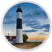 Big Sable Point Lighthouse Sunset Round Beach Towel