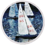Big Sailors And Little Boats Round Beach Towel