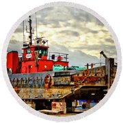 Big Ship Rising Round Beach Towel