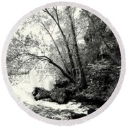 Big Spring In B And W Round Beach Towel