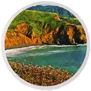 Big Sur California Coastline Round Beach Towel
