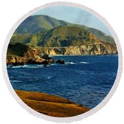 Big Sur Coastline Round Beach Towel by Benjamin Yeager