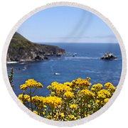 Big Sur Loves Yellow By Diana Sainz Round Beach Towel