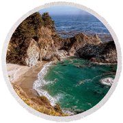 Big Sur - Mcway Falls Round Beach Towel by Glenn McCarthy Art and Photography