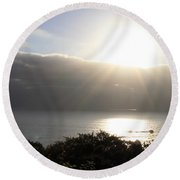 Big Sur Sunset Round Beach Towel