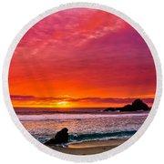 Big Sur Sunset Pfeiffer Beach Round Beach Towel