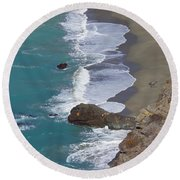 Big Sur Surf Round Beach Towel by Art Block Collections