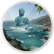 Big Sur Tea Garden Buddha Round Beach Towel by Alixandra Mullins