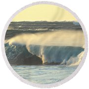 Big Surf At Sunset Round Beach Towel